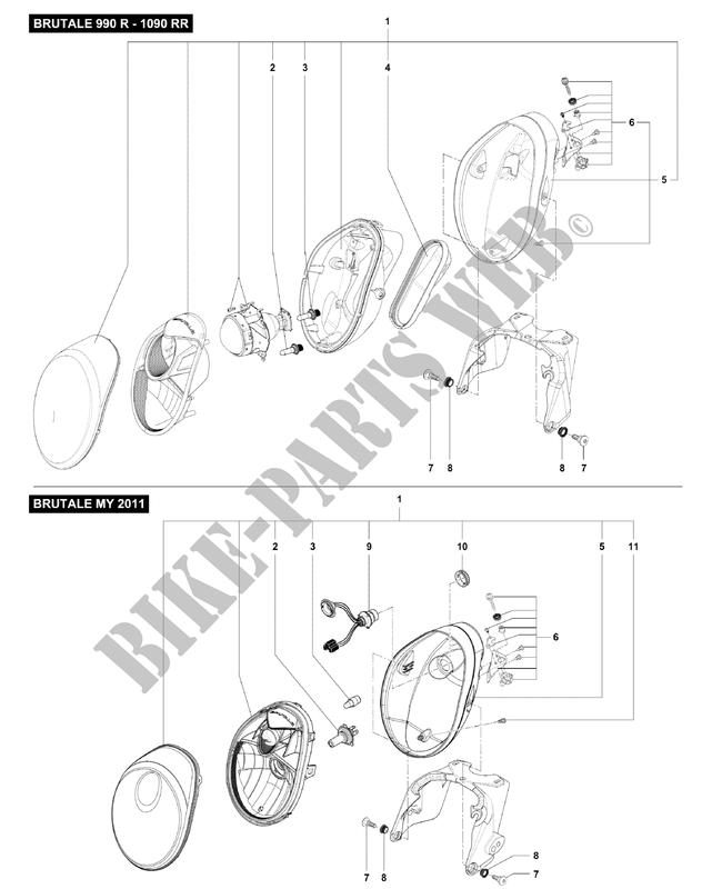 Headlight Brutale 920 2012 Brutale B4 Mvagusta Motorcycle Mv