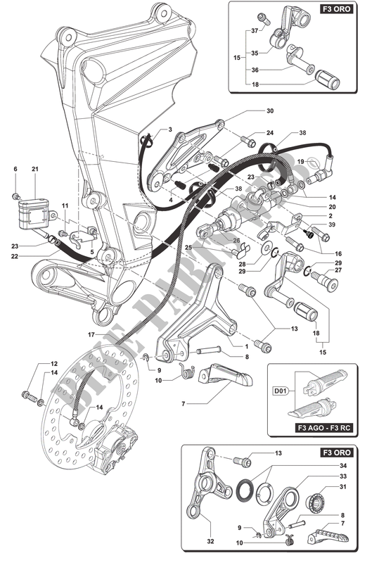 RIGHT FOOTREST for MV Agusta F3 675 2013