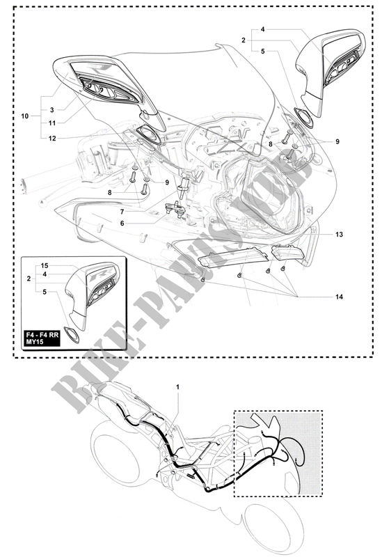 WIRING HARNESS   MIRRORS for MV Agusta F4 2013
