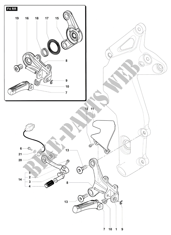 LEFT FOOTREST for MV Agusta F4 RR 2015